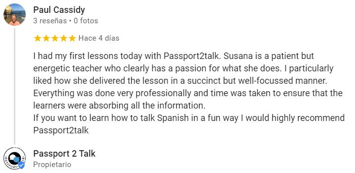 Spanish classes Passport 2 Talk opinion